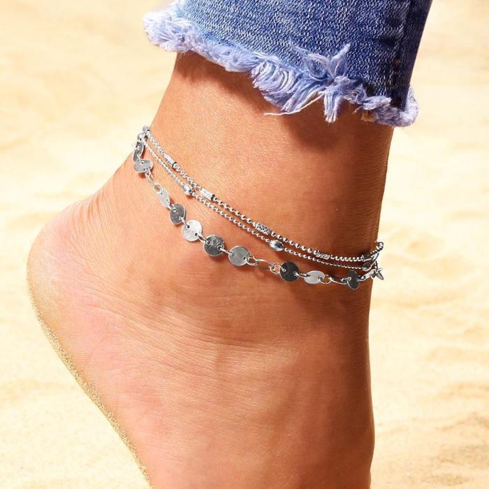Vintage Boho Multi Layer Beads Anklets