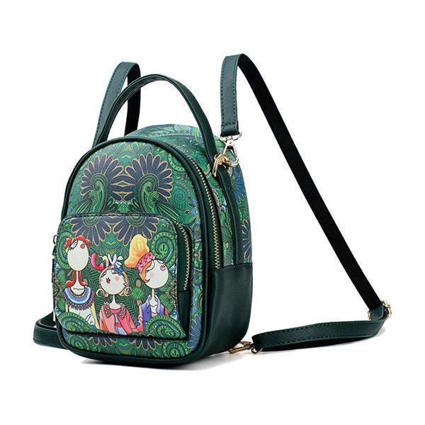 Green Forest  National Style Multifunctional Backpack Crossbody Bag