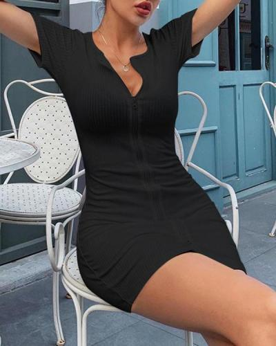 Sexy Solid Slim Double Zipper Knitted Dresss