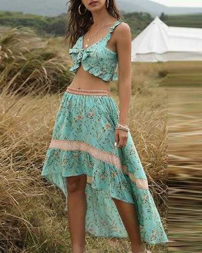 Boho Print Navel Lace Irregular Vacation Suit