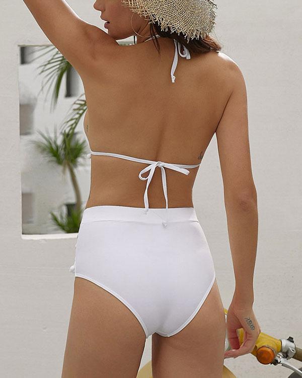 Fringed High Waist Split Bikini