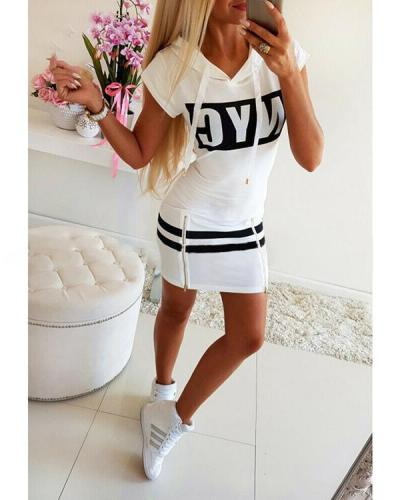 Casual Solid Color Letter Printed Dress