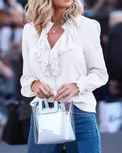 White Cascading Ruffle Chiffon Women Fashion Elegant Casual Blouses