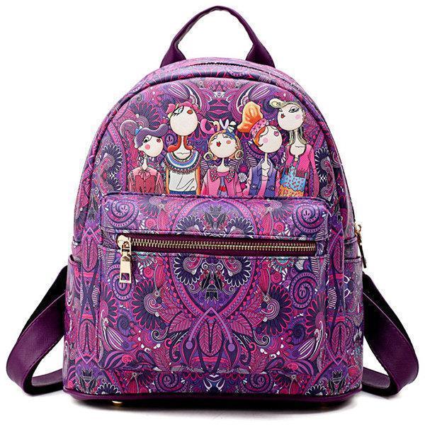 Bohemian Forest Series Backpack Large Capacity Print Handbag