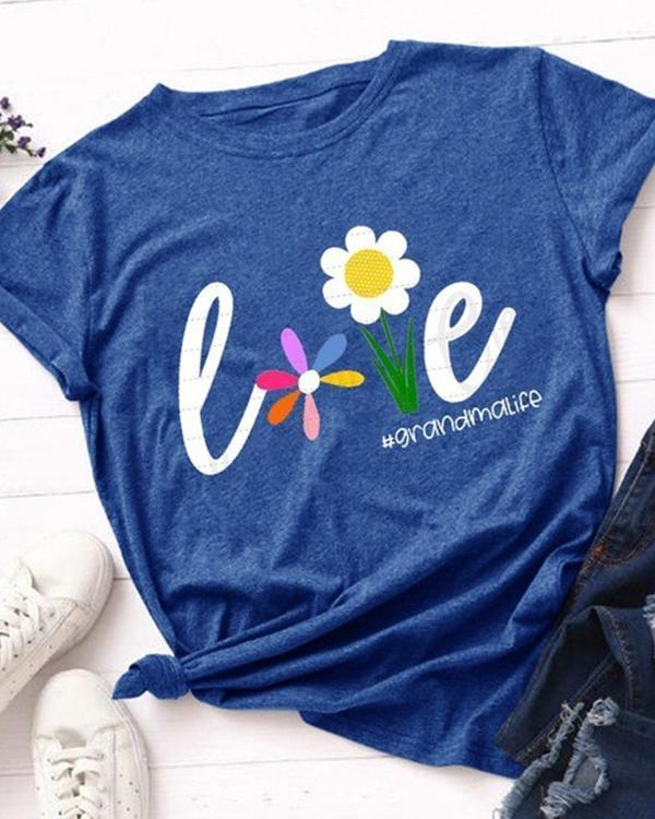 Women Love Flower Casual T-shirt Tee