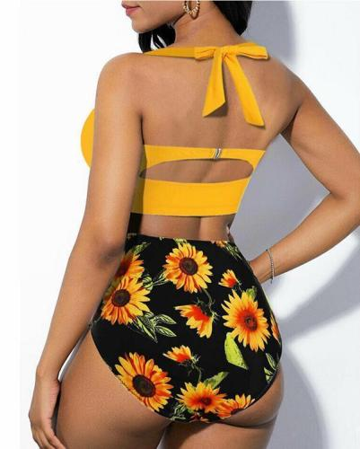 Plus Size Sunflower Print Bikini Set