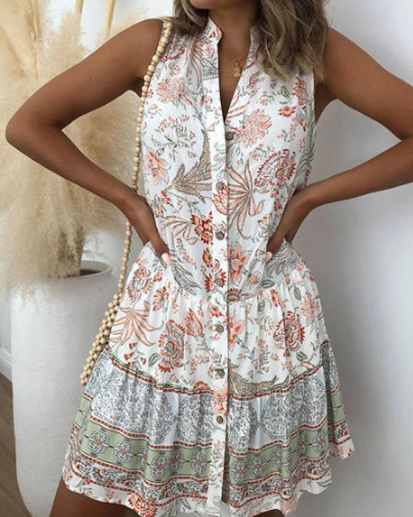Holiday Floral Print Buttons Down Sleeveless Mini Dress