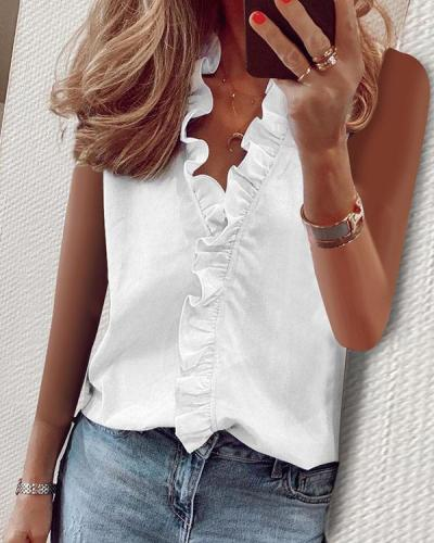 Women Sleeveless Tops Casual Ruffled V-neck T-shirt