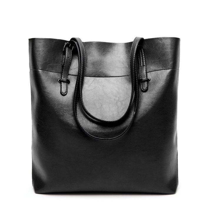 Women Oil Leather Tote Handbags Casual Solid Color Shoulder Bags
