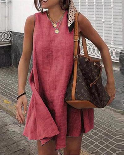 Casual Solid Sleeveless Holiday Daily Fashion Mini Dresses