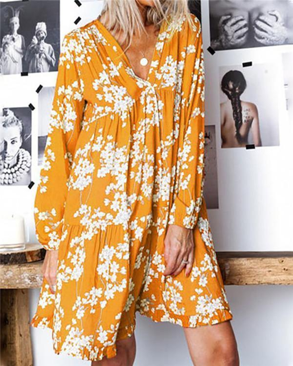Floral Printed Casual Daily Fashion Mini Dresses