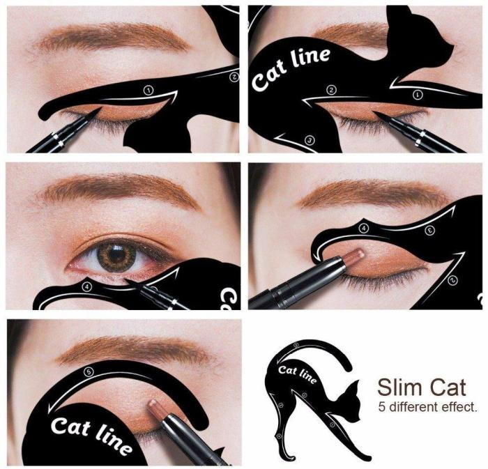 Cat Eye Eyeliner Stencil Makeup Eyes Liner Stencil Models Eyeshadow Template Shaper Tool