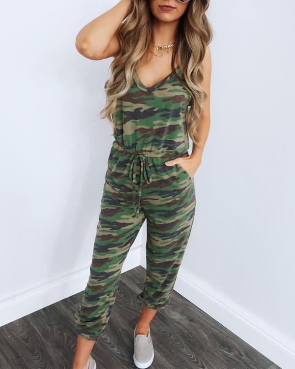 Women Casual Fashion Pocket Jumpsuits