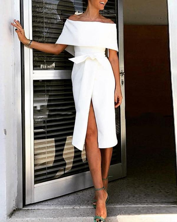 Fashion Strapless Short Sleeve Bow Slim Midi Dress