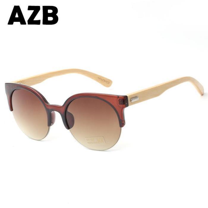 Cat Eyes Fashion Unisex  Bamboo Frame Sun Glasses
