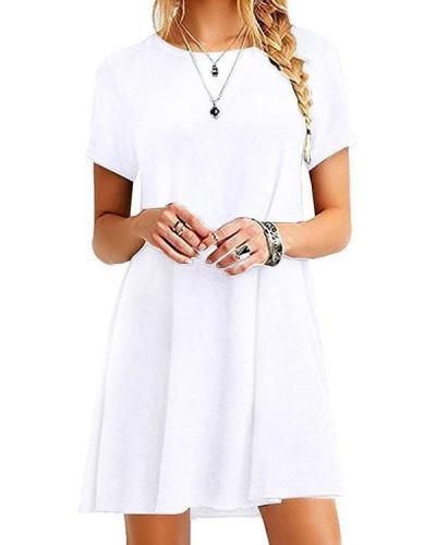 Women's Casual Short Sleeve Multicolor Loose T-Shirt Dress