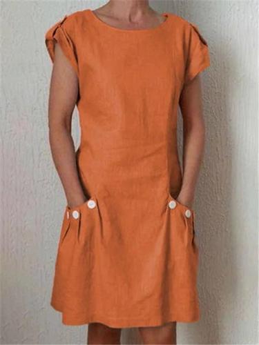 Women Crew Neck Solid Color Short Dresses