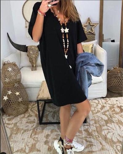 Women Short Sleeve V Neck Solid Plus Size Mini Dress