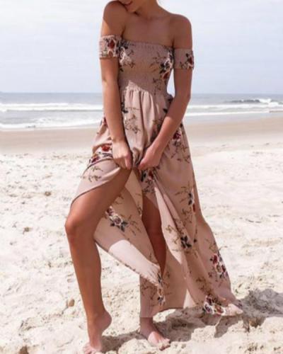 Women's Off Shoulder Floral Print Slit Dress