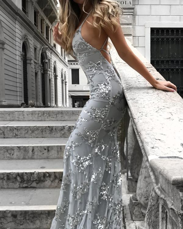 Women Sequined Elegant Maxi Slim Bodycon Glitter Strap Solid Color Party Dress