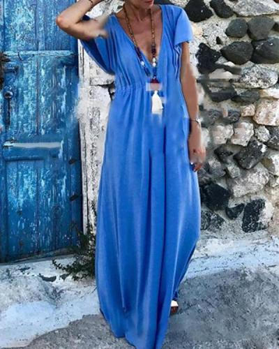 Women Solid Daily Vacation Maxi Dresses