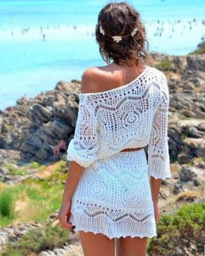 Women Sexy Long Sleeve Lace Hollow Mini Dress