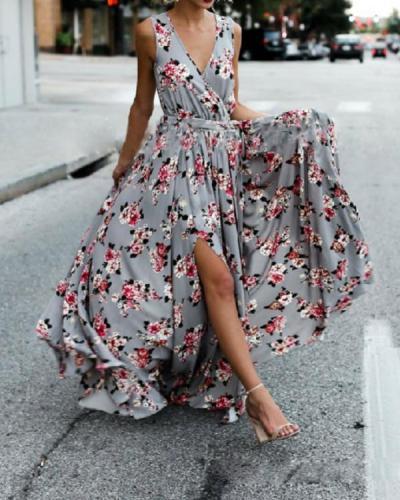 Bohemia Floral Sleeveless V Neck Split-side Maxi Dress