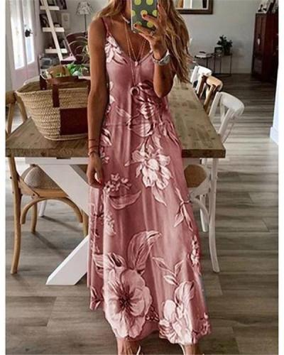 Women Sling Printed Casual V Neck Sleeveless Maxi Dresses
