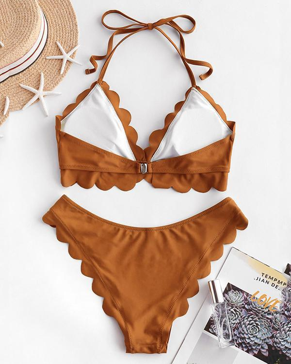 Solid Color Ruffled Bikini Set