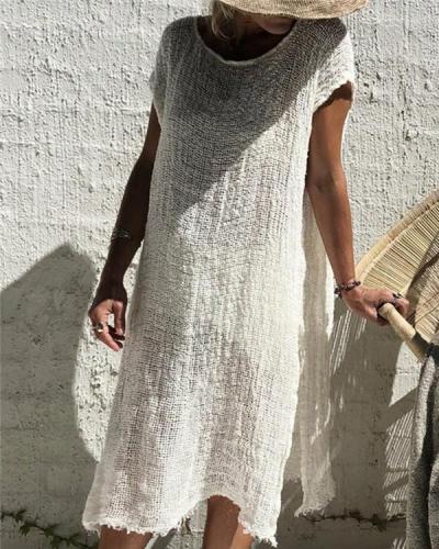 Women Vintage Bohemian Solid Short Sleeve Mini Dress