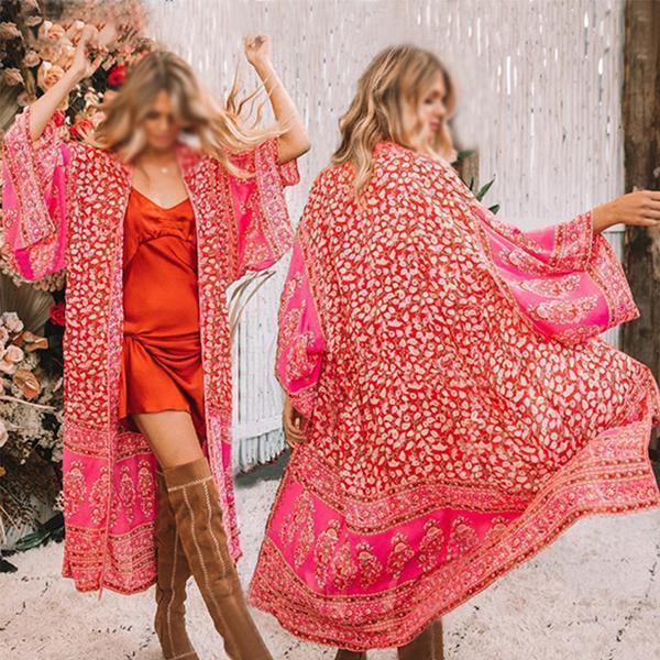 Women's Red Floral Print Holiday Sexy Chiffon Bikini Cardigan