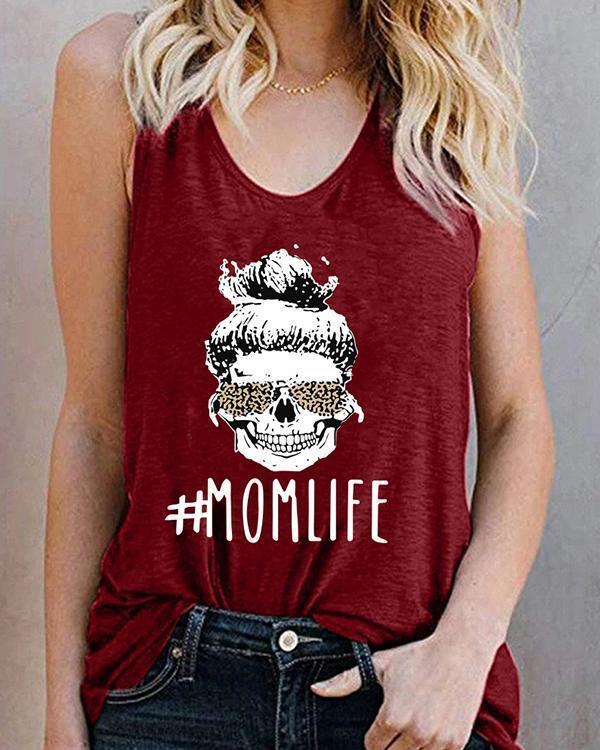 Women Printed T-shirt Mom Life Letter Tank