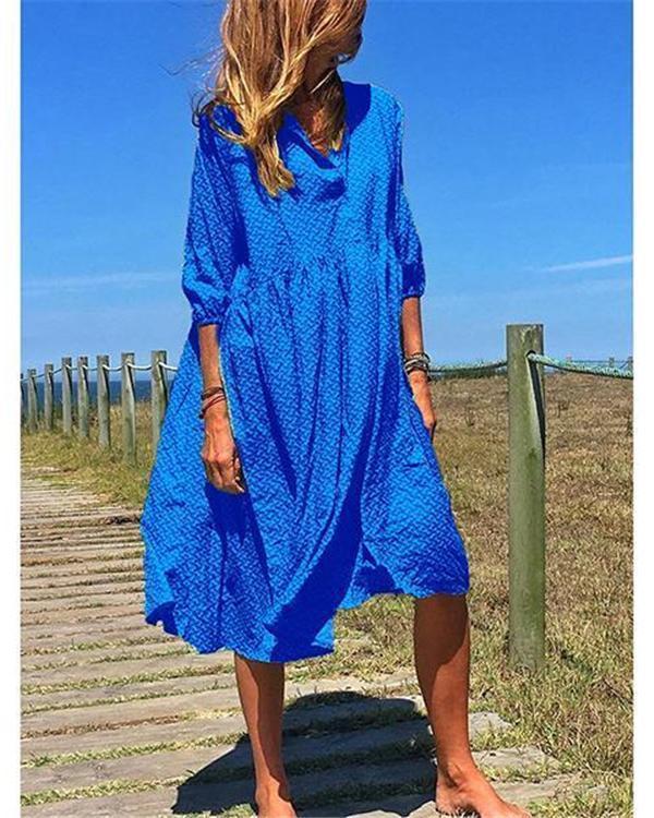 Plus Size V Neck Elegant Casual Midi Dresses