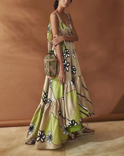 Elegant Stylish Sleeveless Floral Print Maxi Dress