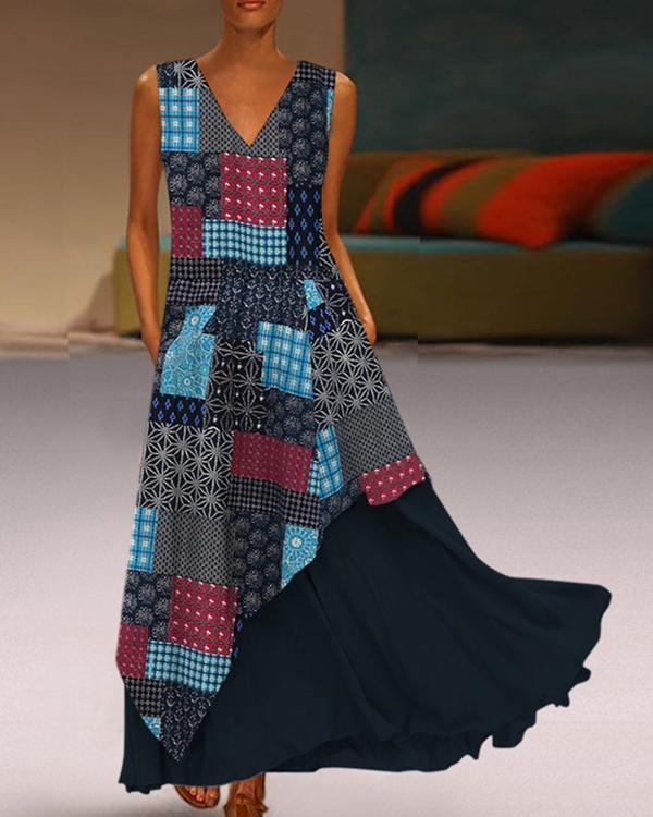 Print Patchwork Layered Sleeveless Maxi Dress