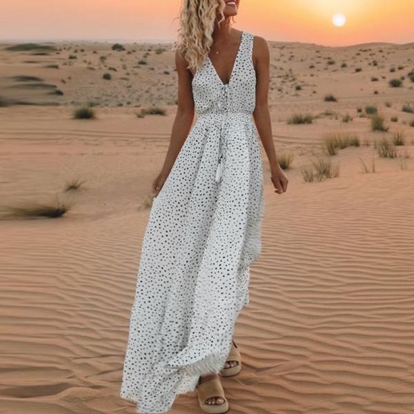 Women V Neck  Polka Dot Maxi Dress Bohemian Dress