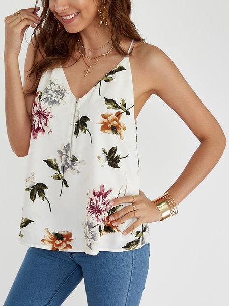 White Random Floral Print V-neck Cami Tops with Zip Design
