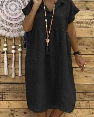 Women Plus Size Linen Cotton Short Sleeve Midi Dress