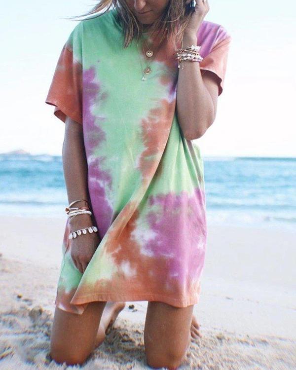 Colorful Tie-dye T-Shirt Mini Dress