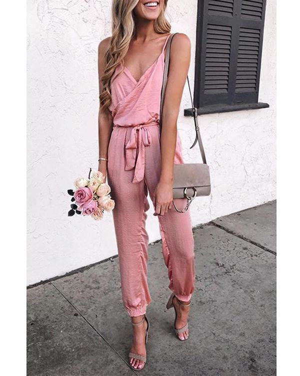 Summer Fashion Solid Sleeveless Belt Jumpsuit