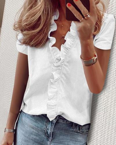 Women Casual Ruffled V-neck T-shirt