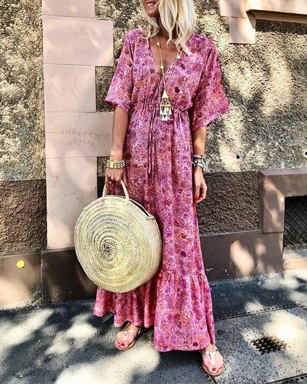 Summer Fashion Waist Belt Printed Holiday Maxi Dress