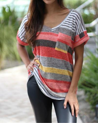Women V-Neck Printed Striped Short-Sleeved T-shirt Top