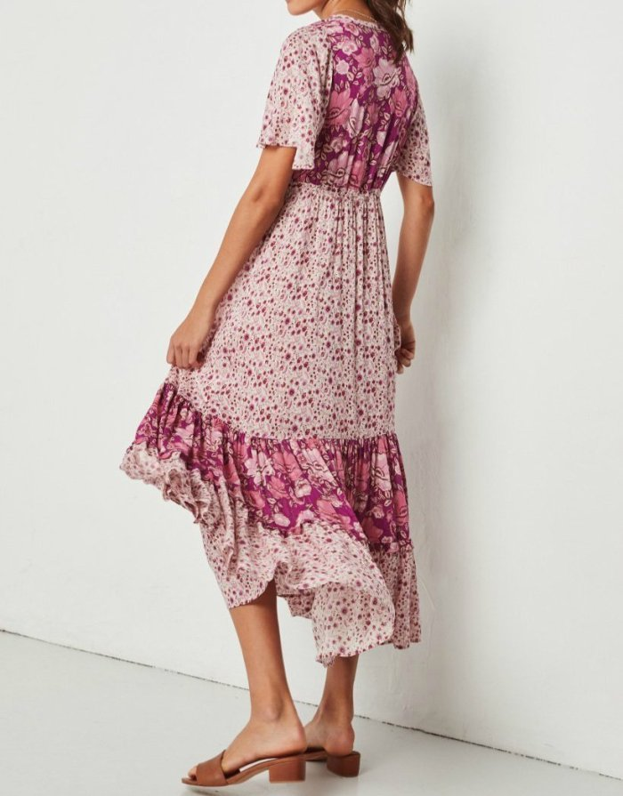 Floral Printed Short Sleeve V-neck Summer Maxi Dress