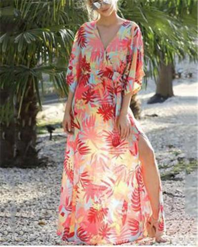 Casual Loose Sleeve V Neck Plus Size Maxi Dresses