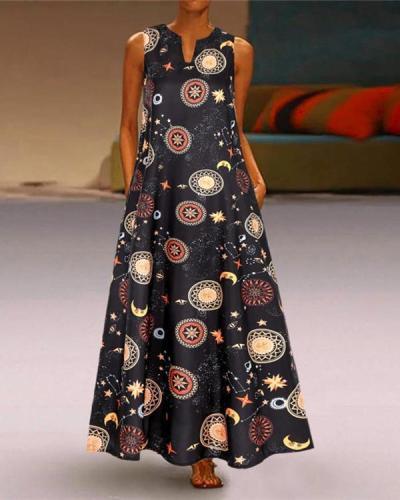 Women Vintage V Neck Sleeveless Casual Printed Dress