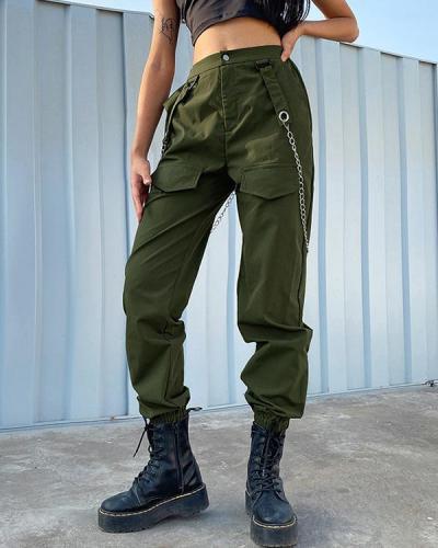 Chain High Waist Casual Bottoms Cargo Pants Hip Hop Pants