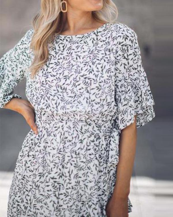 Half Sleeves A-line Crew Neck Floral Midi Dress
