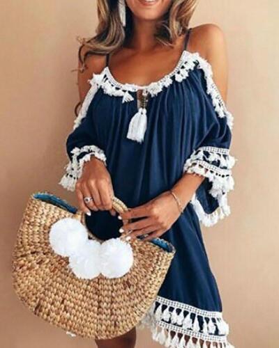 A-line Women Date Elegant Cold Shoulder Solid Summer Fall Dress