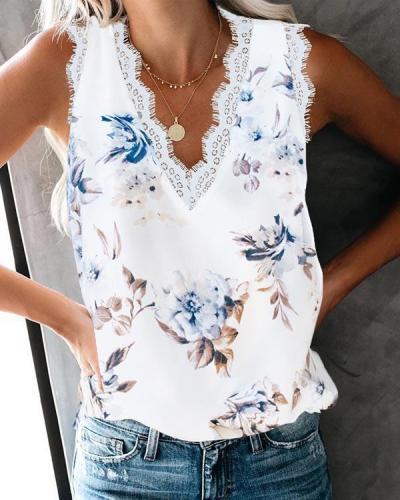 Women's Lace trim Printed Tank Sleeveless Blouse